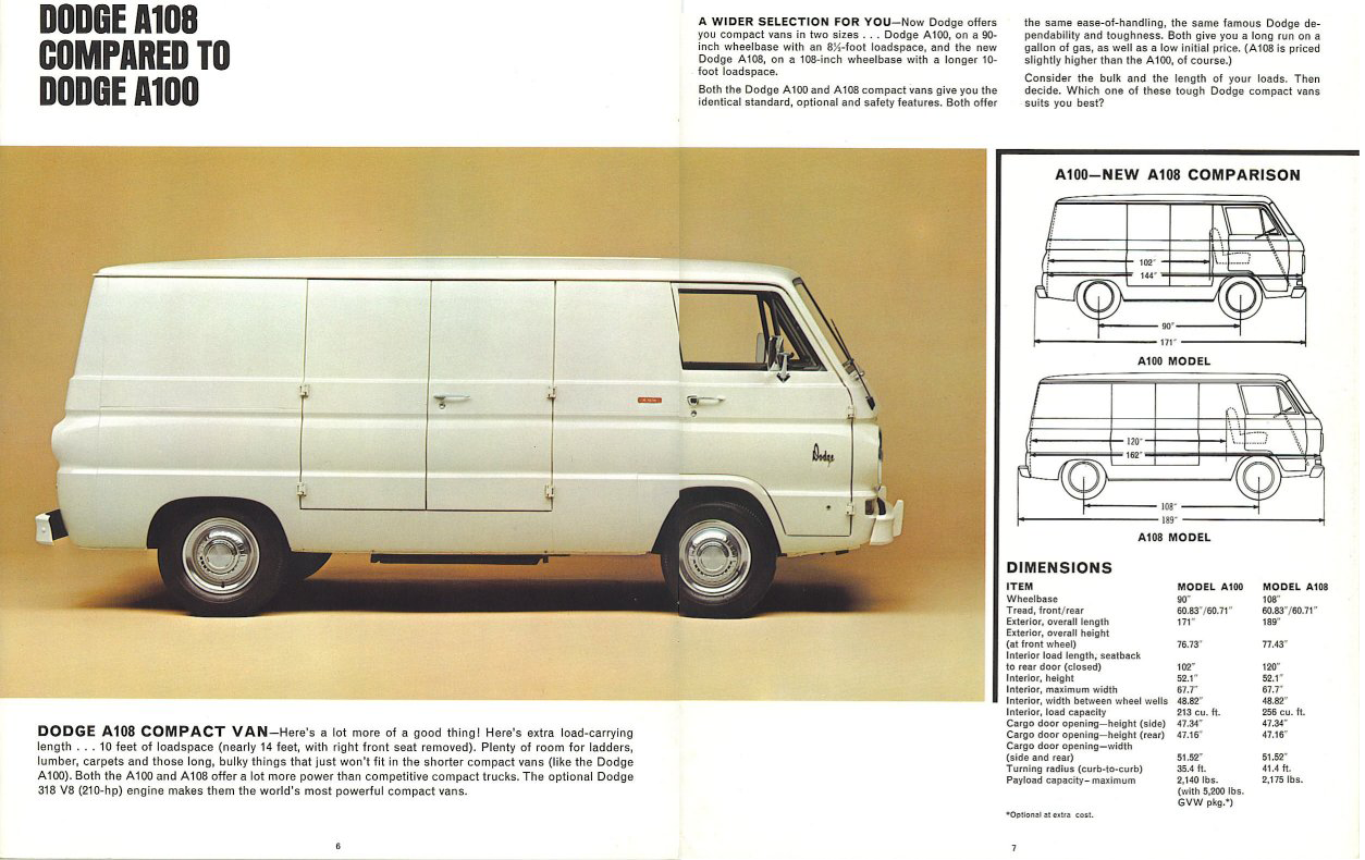 Dodge A108 Compared To A100 Dimensions Table Wheelbase Length Gvw